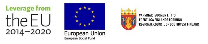 Levarage from the EU 2014-2020 and European Social Fund logos and Regional Council of Southwest Finland Logo